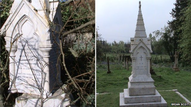 Nightingale tomb following storm damage (left) and after the repairs