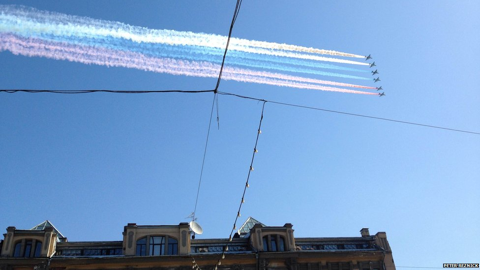 A fly past mark's Russia's Victory Day celebrations