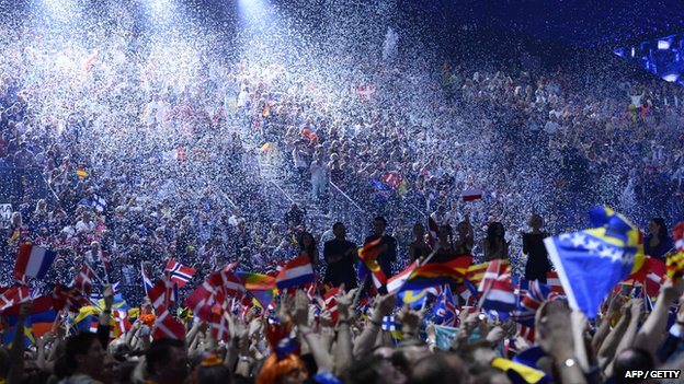 Supporters waving flags at Eurovision 2014