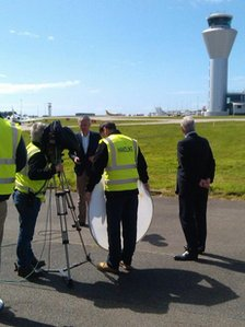 BBC crew at Jersey airport