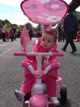 Seven-month-old Sophie Turley from Forkhill was decked out in pink