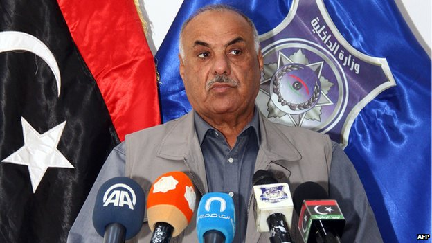 Libya's interim interior minister Saleh Mazek holds a press conference on May 10