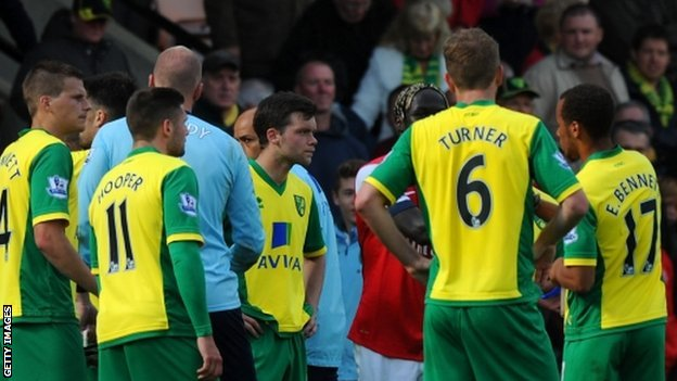 Norwich City's dejected players