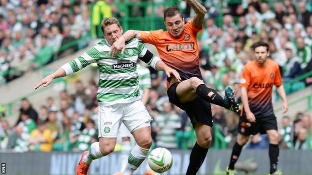 Dundee United's Paul Paton battles with Kris Commons