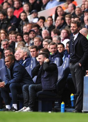 Tim Sherwood invites a Spurs fan into the dugout