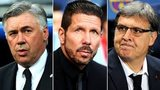 Real Madrid manager Carlo Ancelotti, Atletico Madrid manager Diego Simeone and Barcelona manager Gerardo Martino