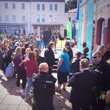 Crowds in St Aubin