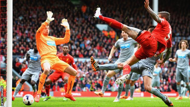 Daniel Agger scores for Liverpool against Newcastle