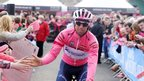 Leader and pink jersey holder Michael Matthews acknowledges the supporters in Armagh City before the start of Sunday's Giro d'Italia stage