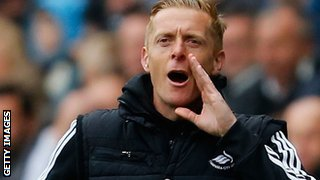 Swansea coach Garry Monk shouts instructions to his players