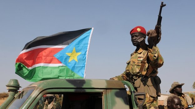 South Sudanese People's Liberation Army (SPLA) soldiers in Bentiu. Photo: January 2014