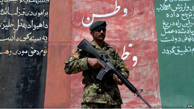 An Afghan National Army soldier on patrol in Herat - 7 April 2014