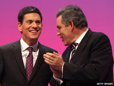 Gordon Brown and David Miliband at the Labour Party conference, 2009