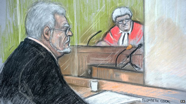 Court sketch of Rolf Harris in court