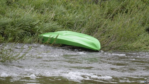 Kayak on riverbank