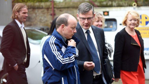 Craig Levein at Tynecastle with Ann Budge