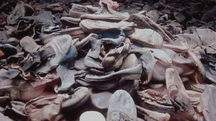 Poland - Auschwitz - pile of shoes that remain at the site of the Auschwitz concentration camp