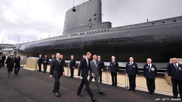 Prince William visiting HMS Alliance at the Royal Navy Submarine Museum in Gosport