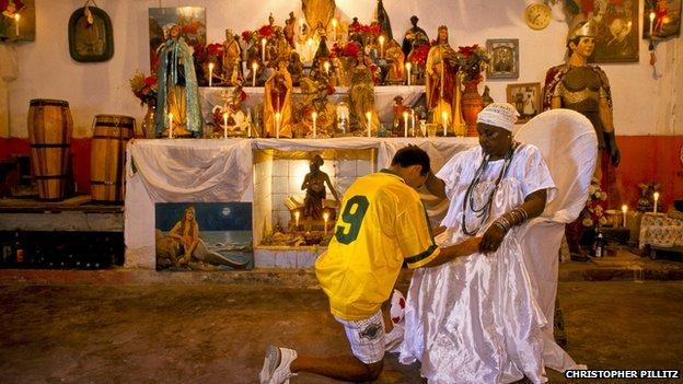 A footballer visits a shrine