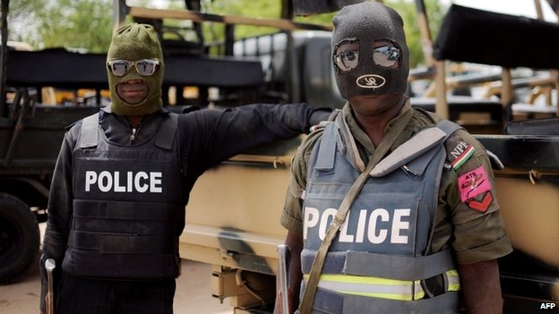 Nigerian police taking part in an operation in Borno state against Boko Haram - 5 June 2013