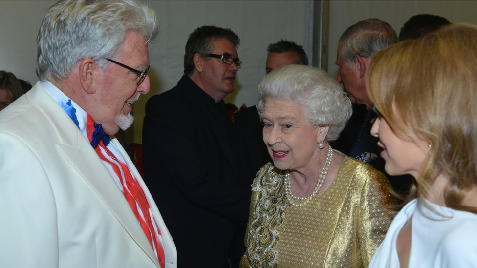 Rolf Harris with the Queen and Kylie Minogue
