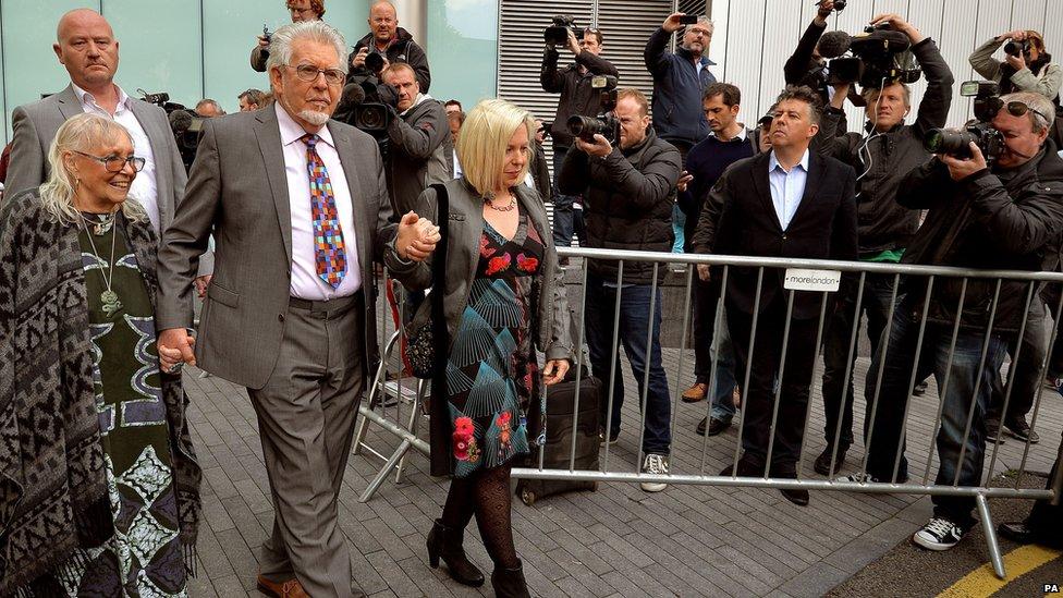 (l-r) Alwen Hughes, Rolf Harris and Bindi Harris outside Southwark Crown Court