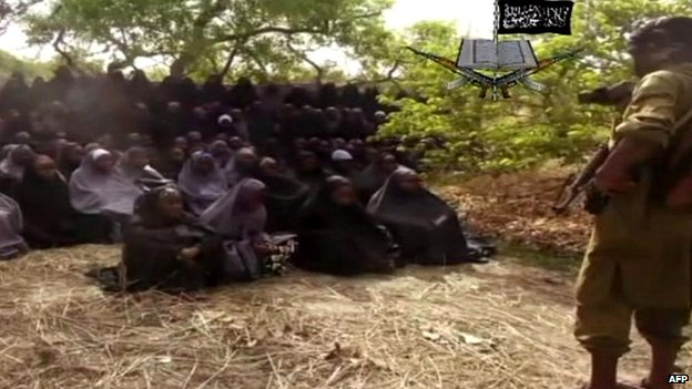 A screengrab from a video released by Boko Haram that claims to show some of the girls kidnapped by the group - 12 May 2014