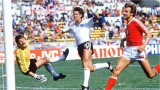 Gary Lineker scores for England against Poland
