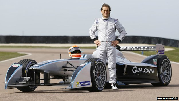 Jarno Trulli and Formula E racing car
