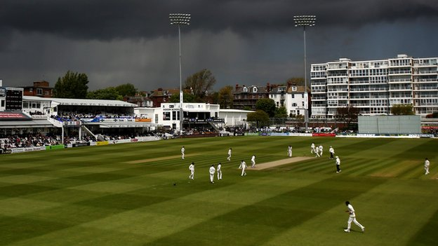 Sussex and Durham's match at Hove is interrupted by dark clouds and rain
