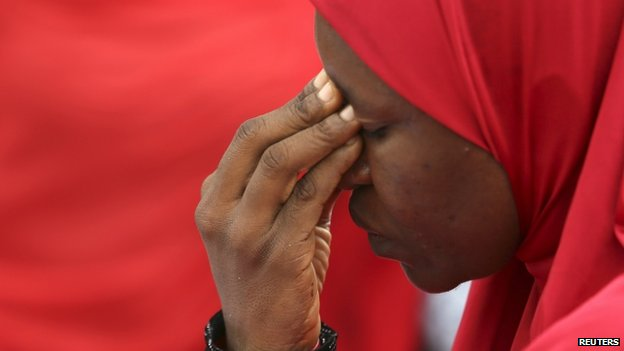 A woman takes part in a protest for the release of the abducted secondary school girls in the remote village of Chibok, during a sit-in protest at the Unity fountain Abuja, 12 May 2014