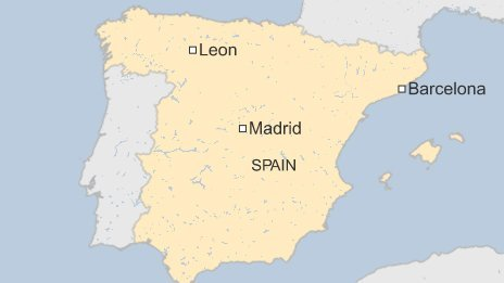 Map of Leon in Spain