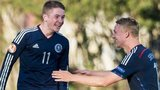 Scott Wright (left) celebrates for Scotland