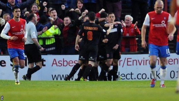 Fleetwood celebrate scoring against York
