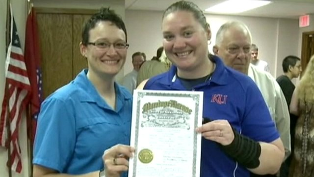 Same-sex couple marry in Arkansas