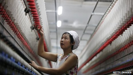 Woman in China textile factory