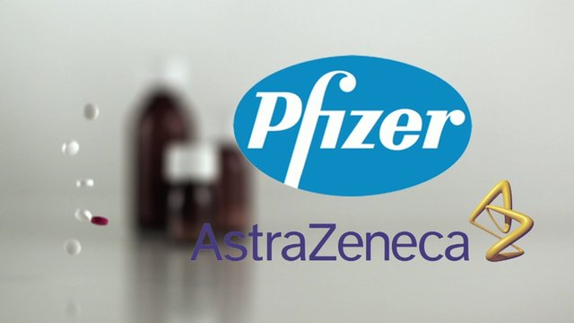 Pfizer and AstraZeneca logos