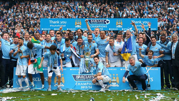 Manchester City celebrate winning the title