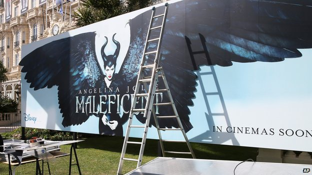 A banner for Maleficent during preparations for the Cannes Film Festival