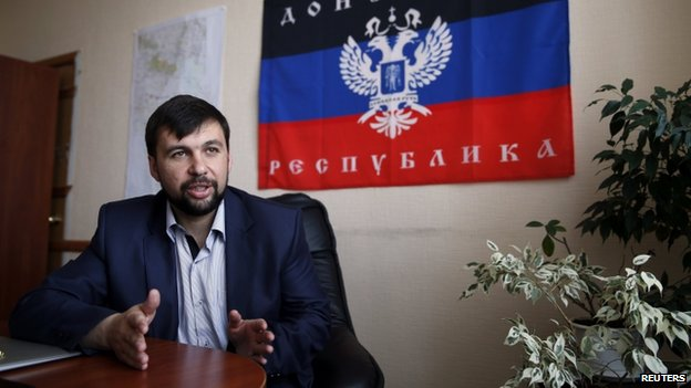 Denis Pushulin, senior member of the separatist rebellion leadership, meets with journalists in Donetsk on 12 May  2014