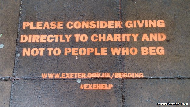 Stencilled message by Exeter City Council