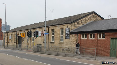 The building at the railway station (now a Hull City Supporters' club) that migrants passed through