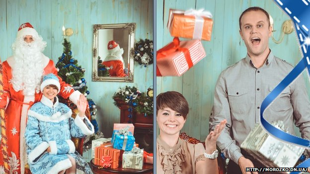 Pavel Gubarev poses for festive pictures