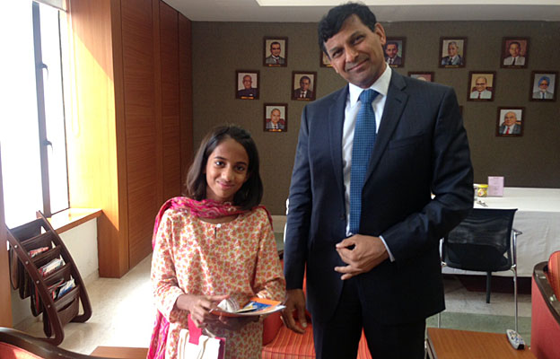 Laila Alva with the governor of the Reserve Bank of India