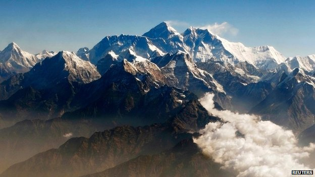 Everest and other peaks of the Himalayan mountain range