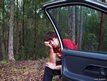 Man fed up beside car