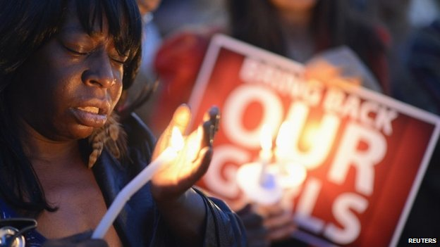 "People participate in a ""Bring Back Our Girls"" campaign demonstration and candlelight vigil, held on Mother's Day in Los Angeles on 11 May 2014"
