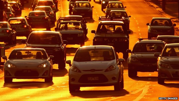 Rush hour traffic on a congested road as the sun sets on 13 May 2014 in Melbourne, Australia