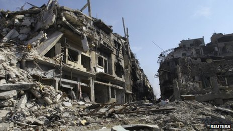 Devastated buildings in Homs, Syria