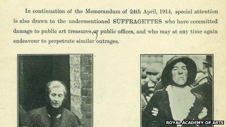 Suffragette 'wanted' poster from 1914
